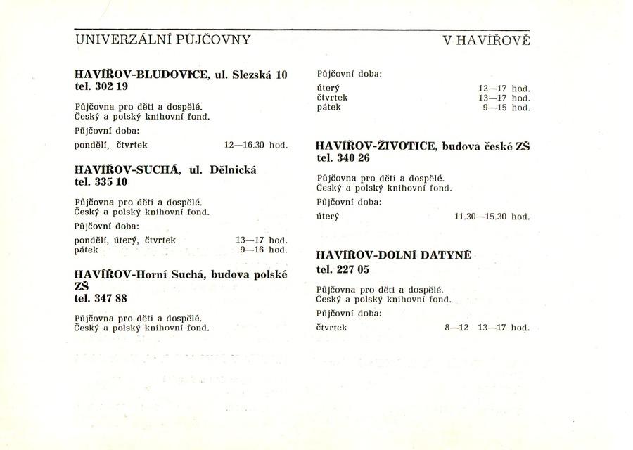 Přehled poboček havířovské knihovny, 1986